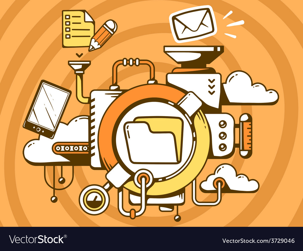 Mechanism with folder and office icons on vector