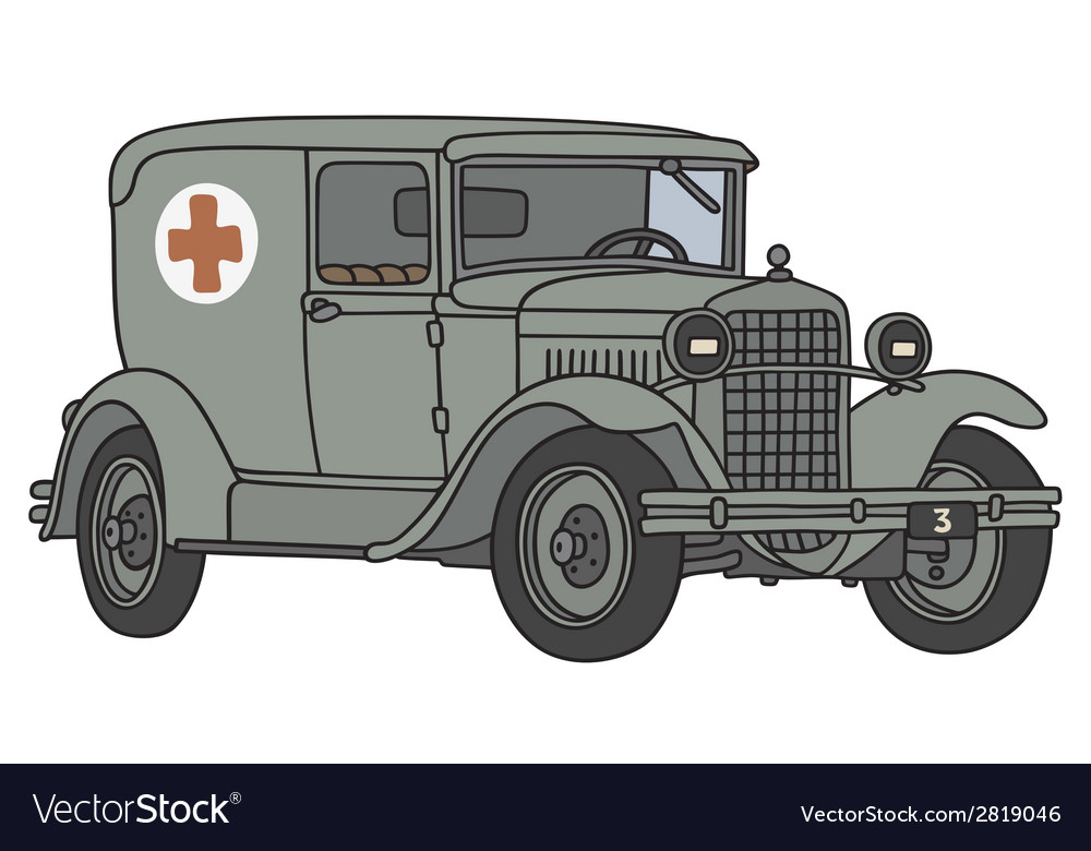 Old military ambulance vector