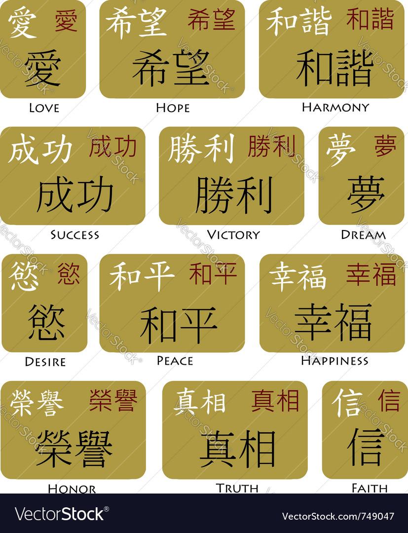Japanese kanji chinese symbols vector