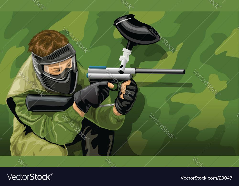 Paintball game player shooting vector