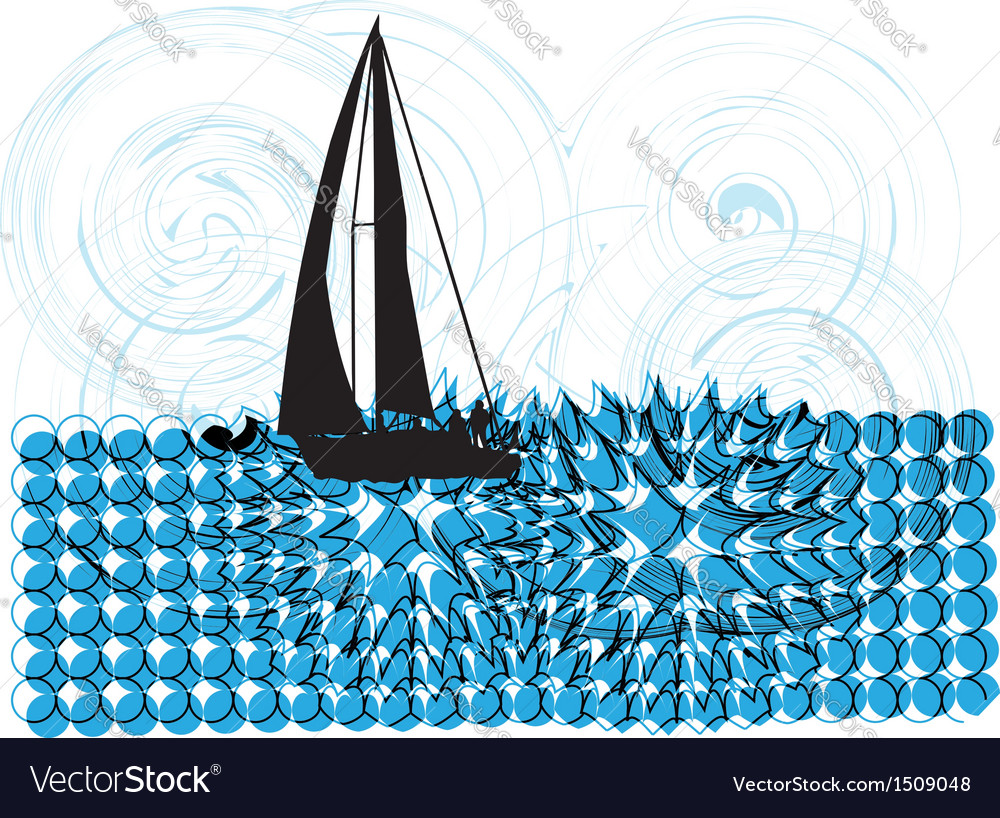 Sailing luxury yacht vector