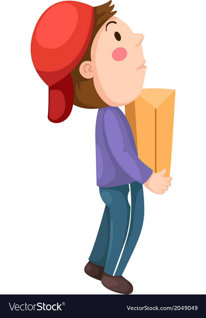 Messenger boy with package vector