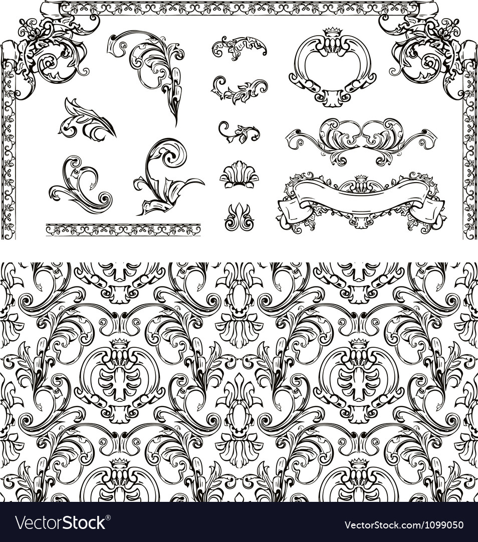 Seamless pattern and design elements vector