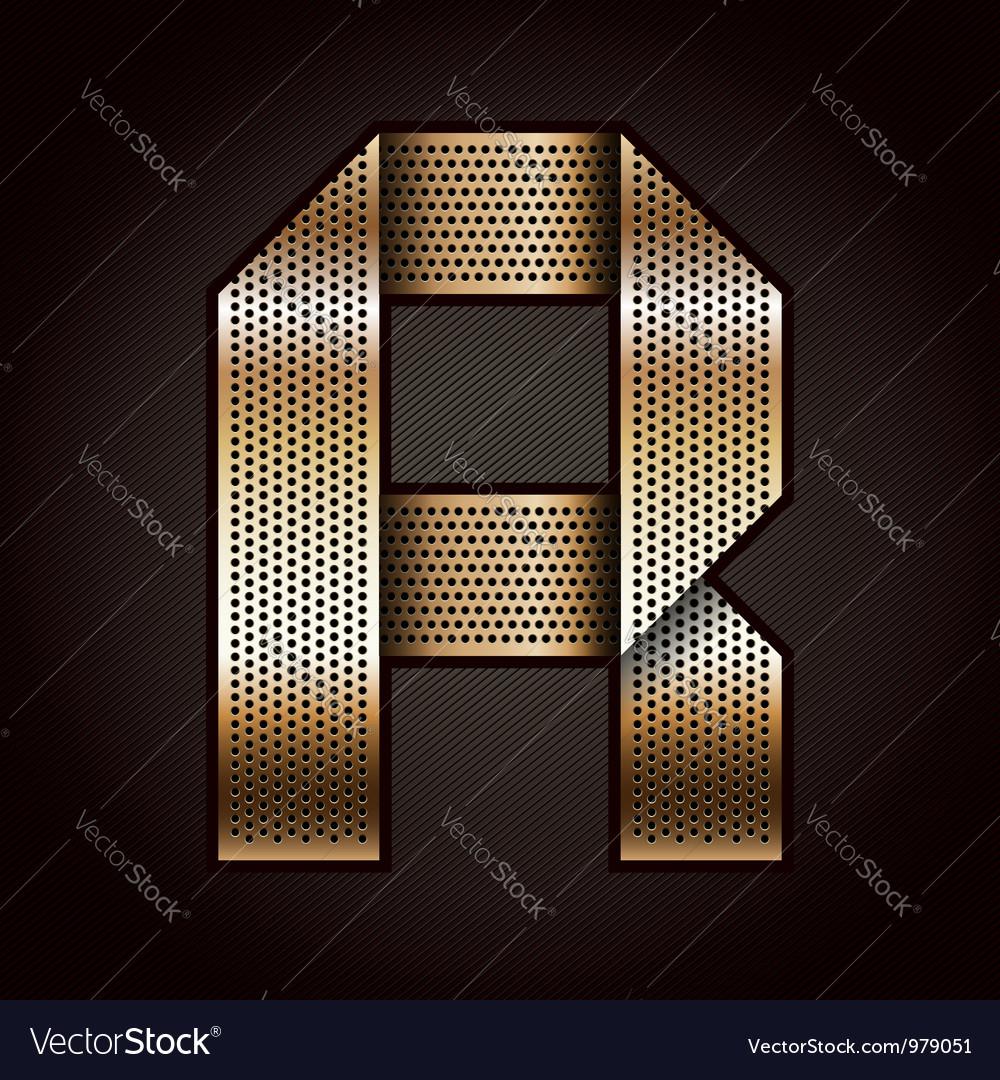 Letter metal gold ribbon - r vector