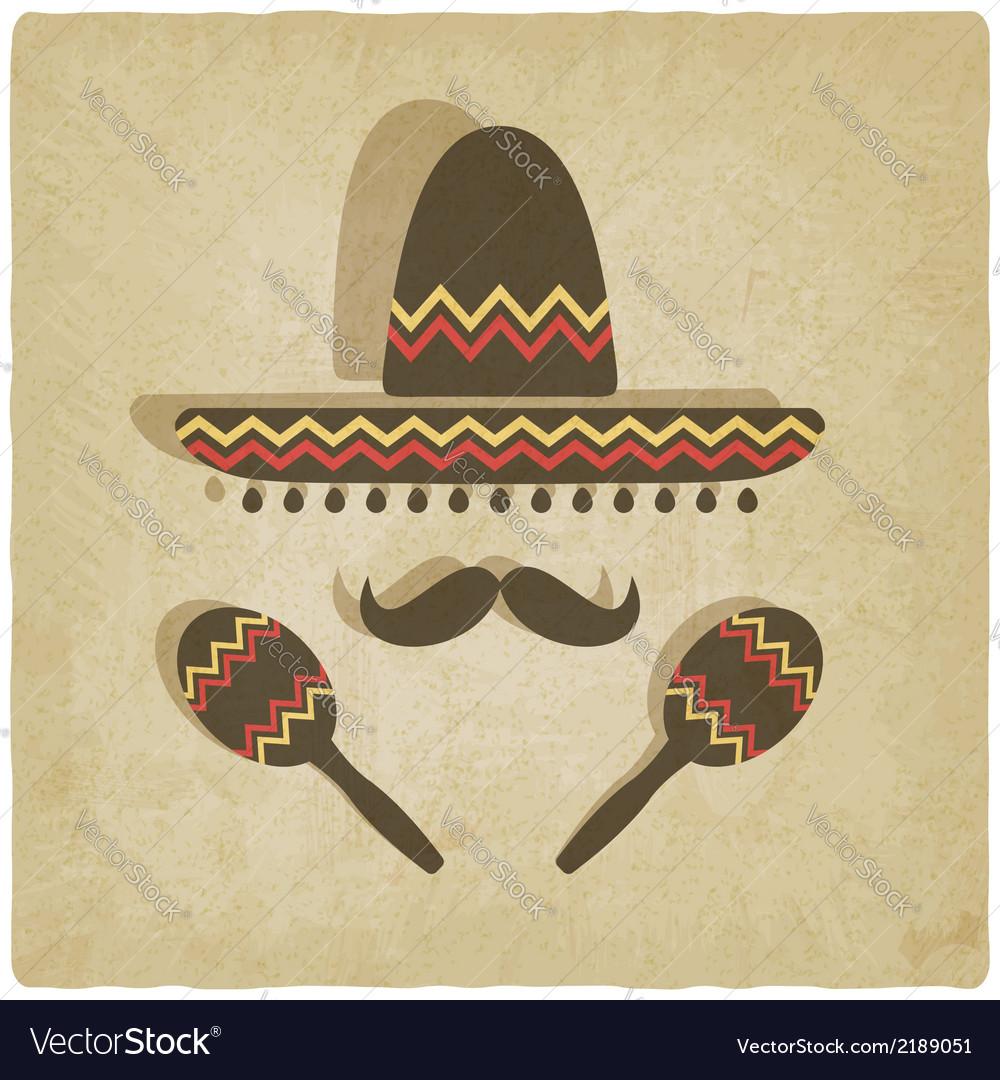 Mexican-sombrero-old-background-vector