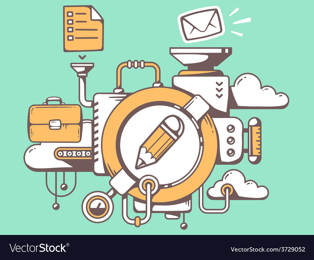 Mechanism with pencil and office icons on vector