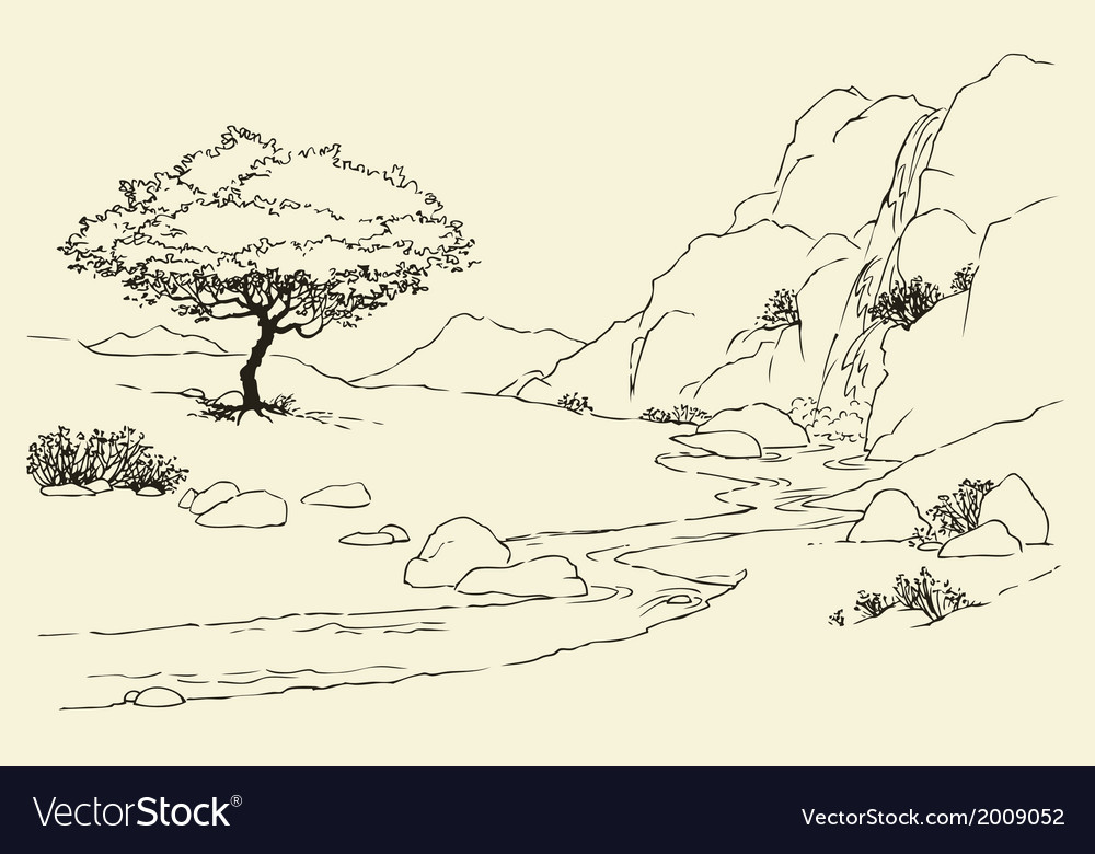 Tree near a mountain stream in the meadow vector