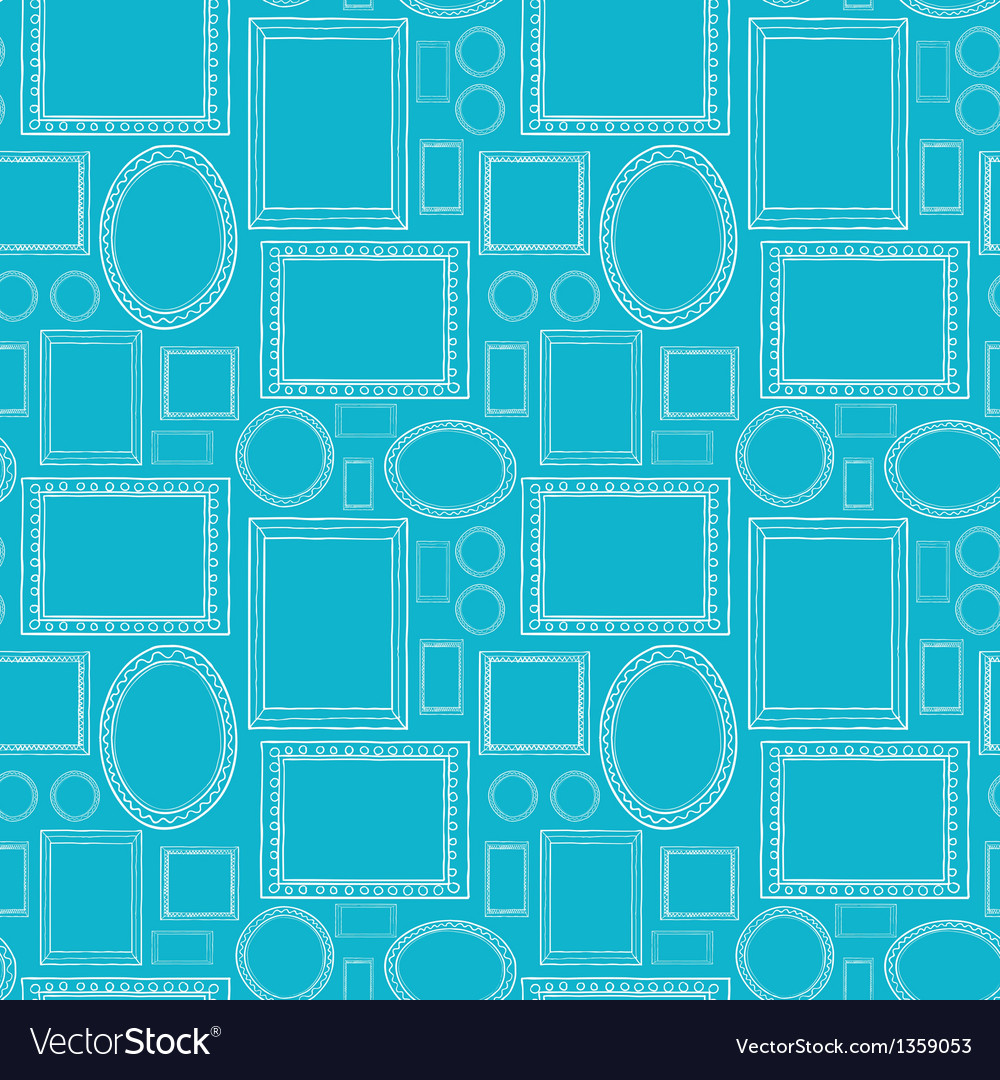 Blue blank picture frames seamless pattern vector