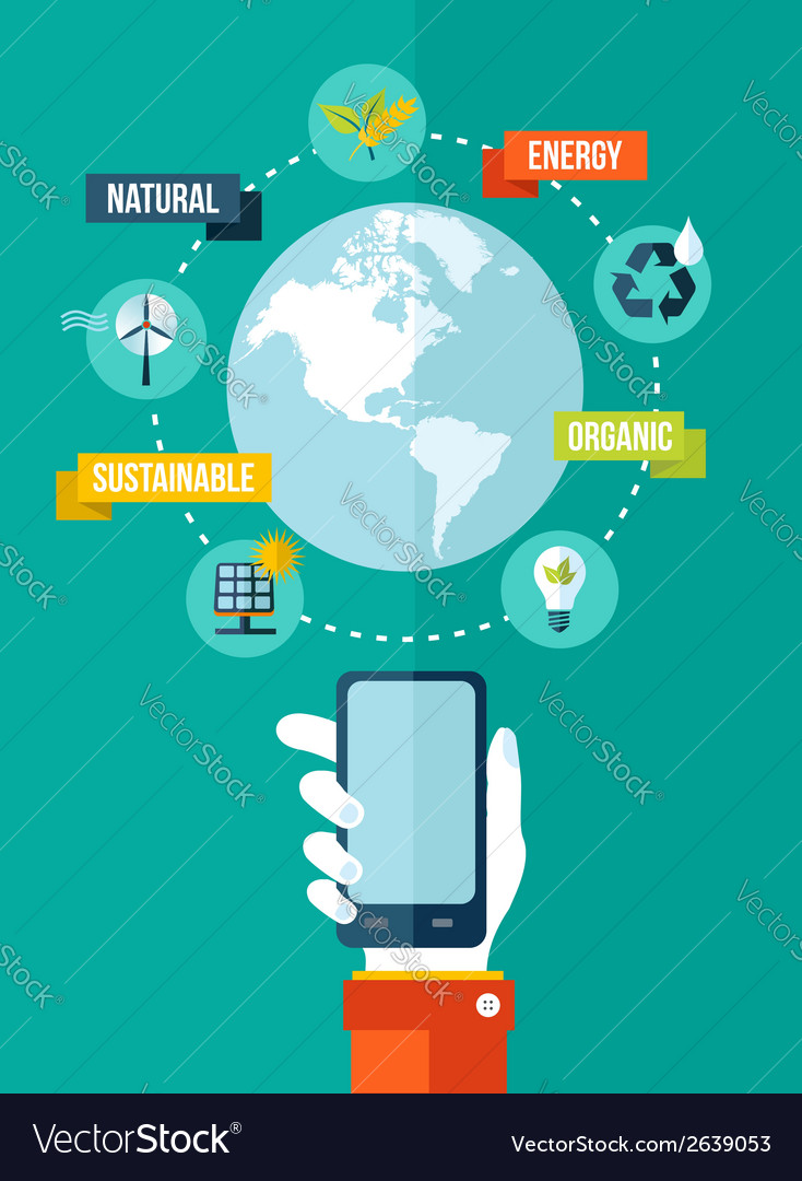 Go green global mobile app concept vector