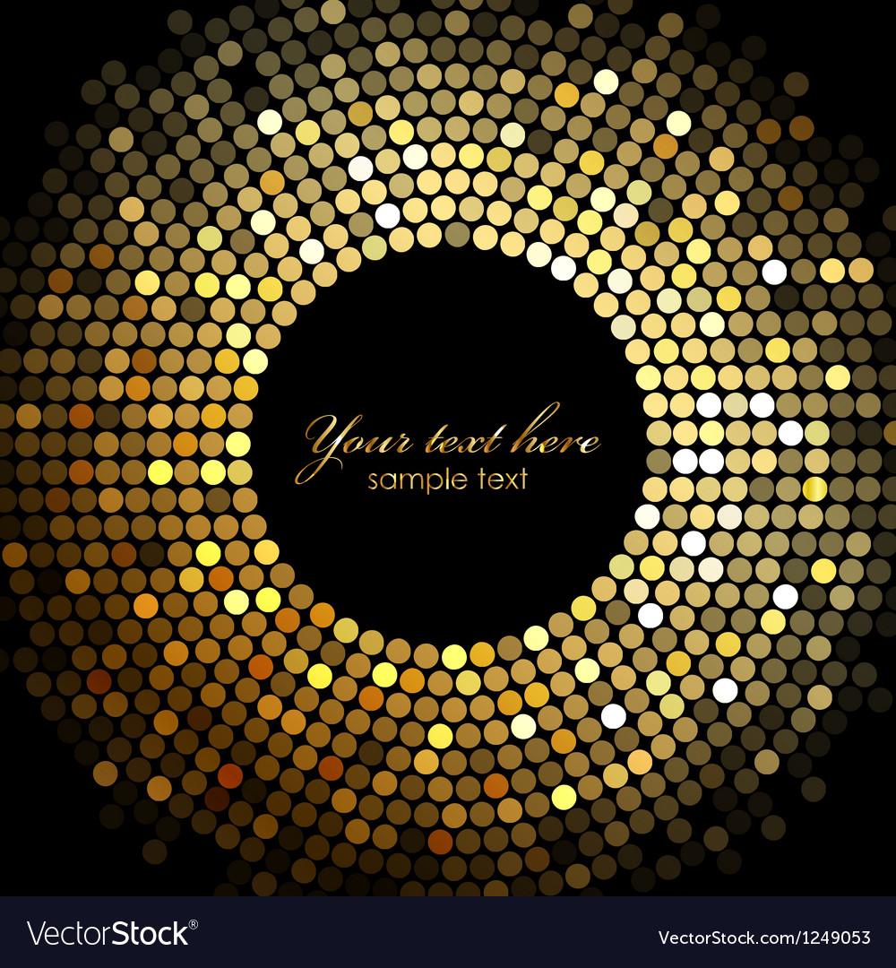 Gold disco lights frame vector