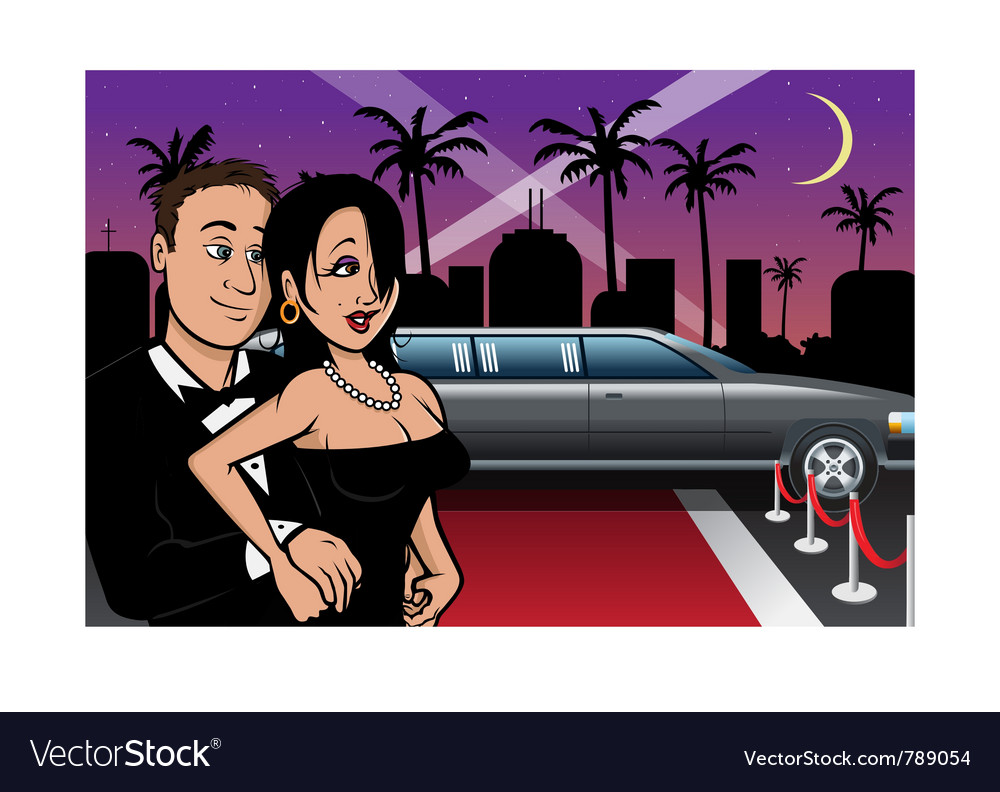 Hollywood celebrities red carpet vector