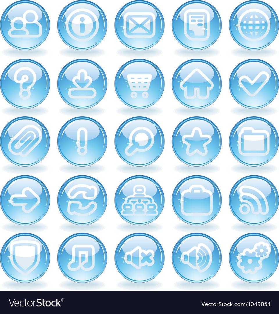 Shine glass icons vector