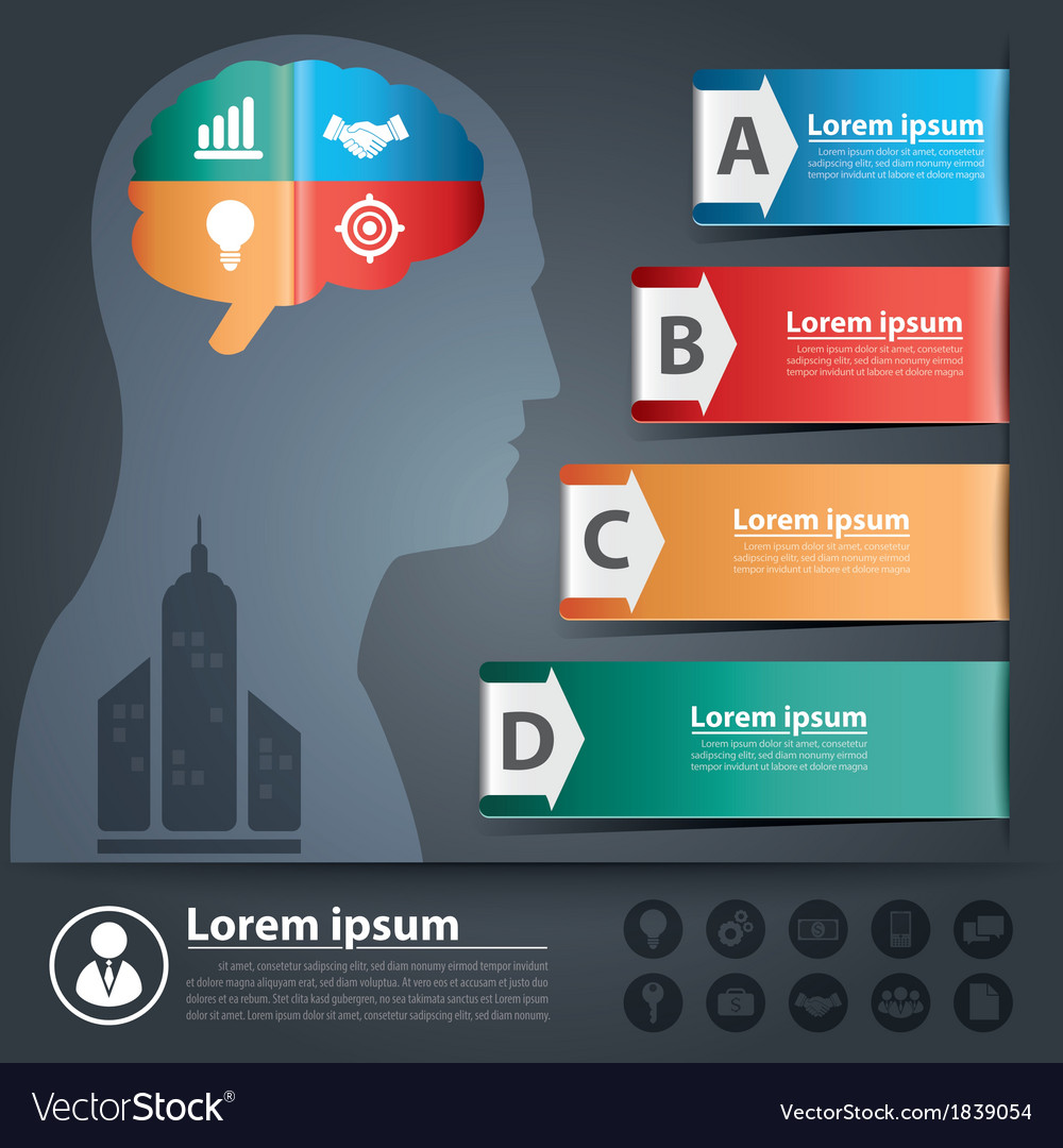 Thought arrow banner infographic vector