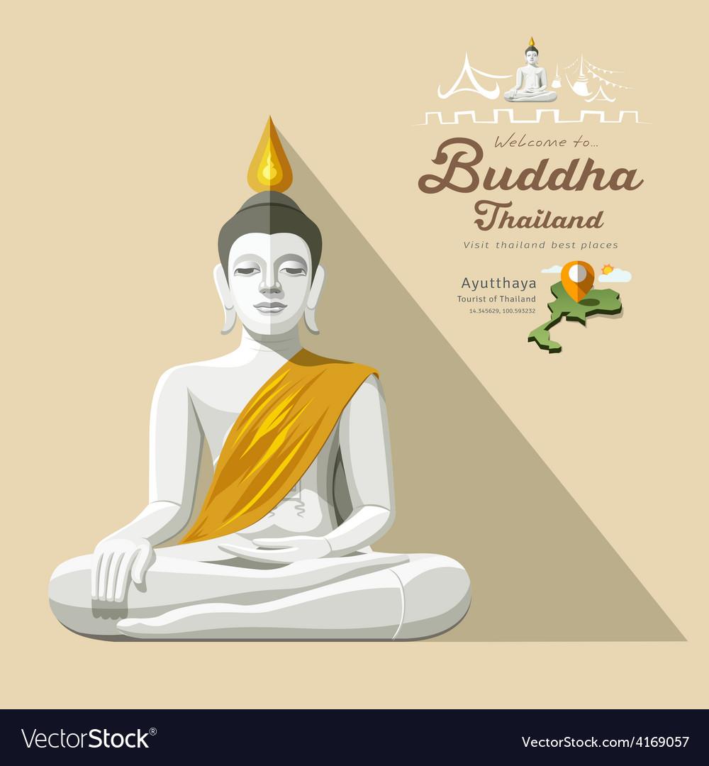 White buddha and yellow robe of thailand vector
