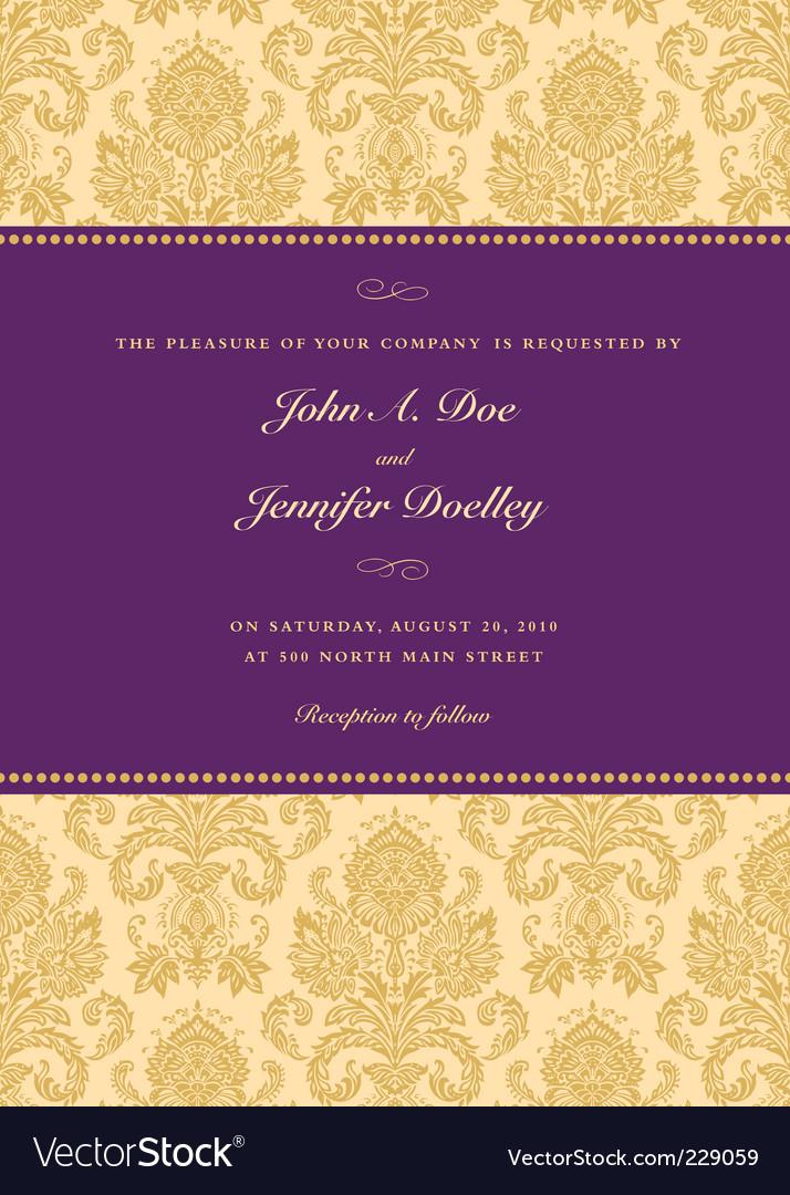 Royal purple damask frame vector