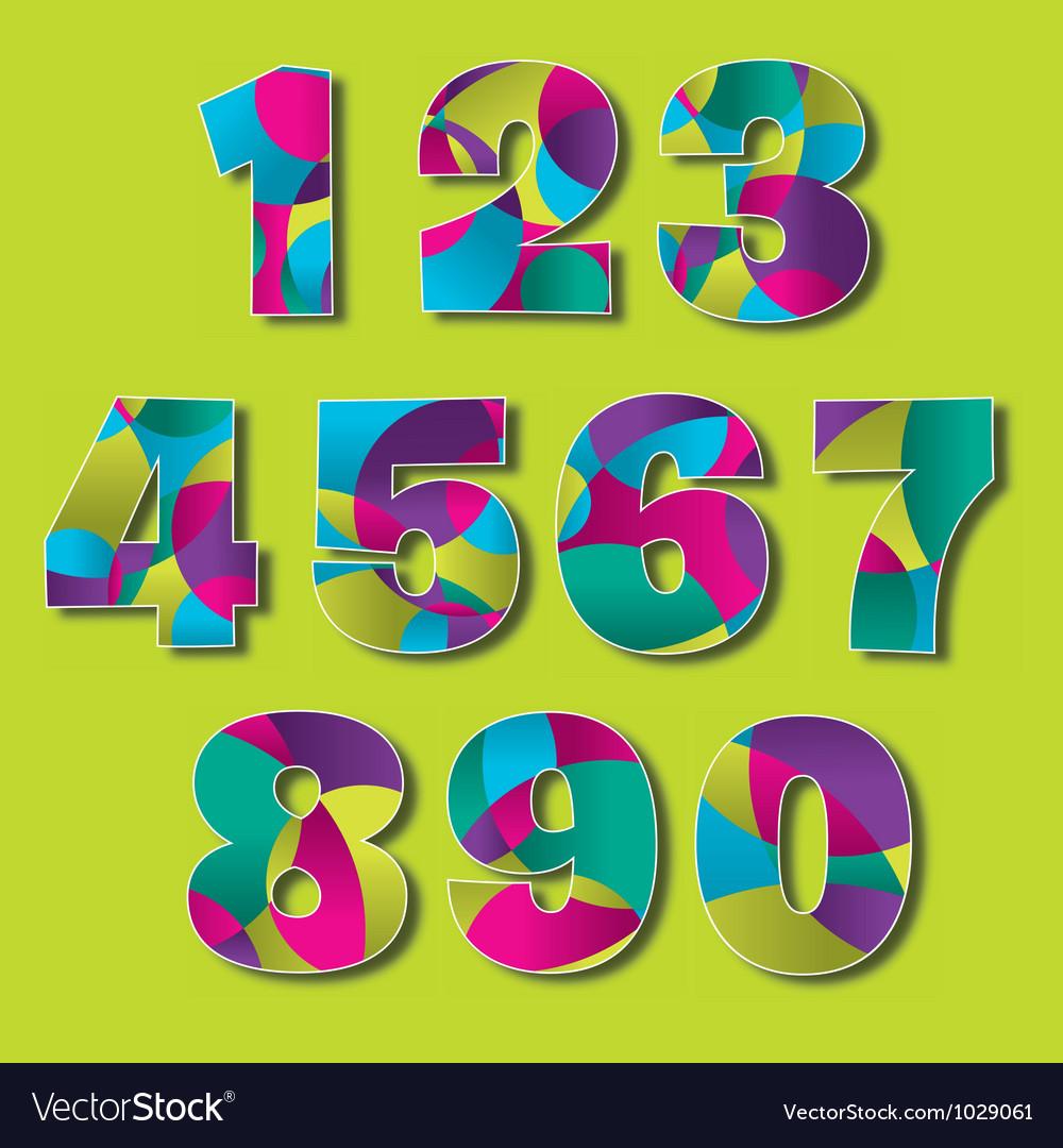 Colorful modern number set vector