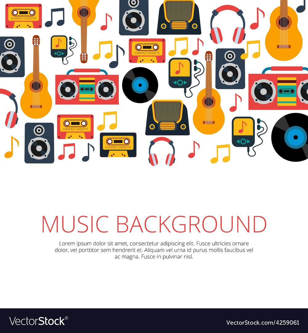 Music retro symbols background vector