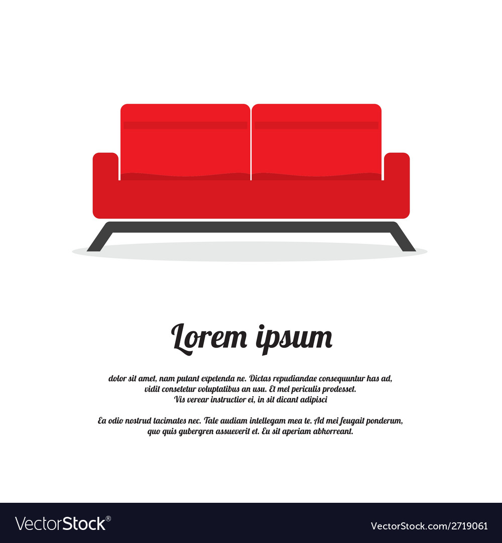 Red two seat sofa vector