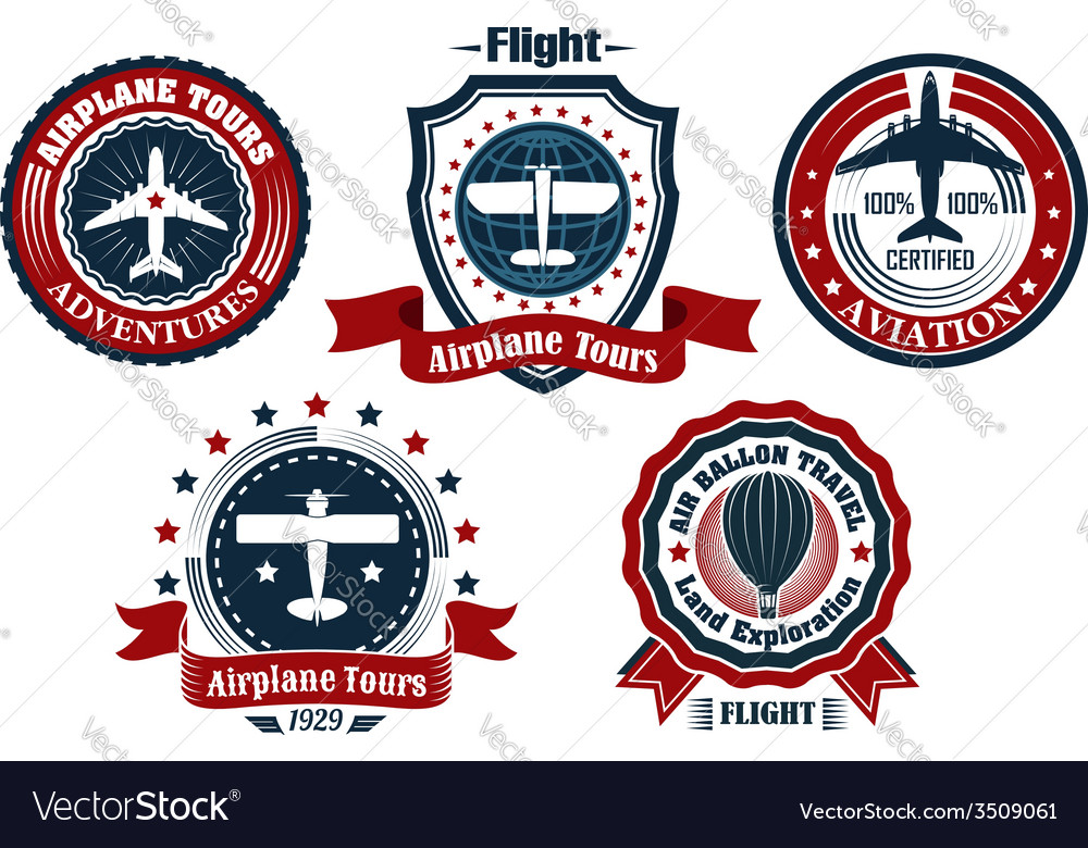 Retro flight emblem logo label set vector