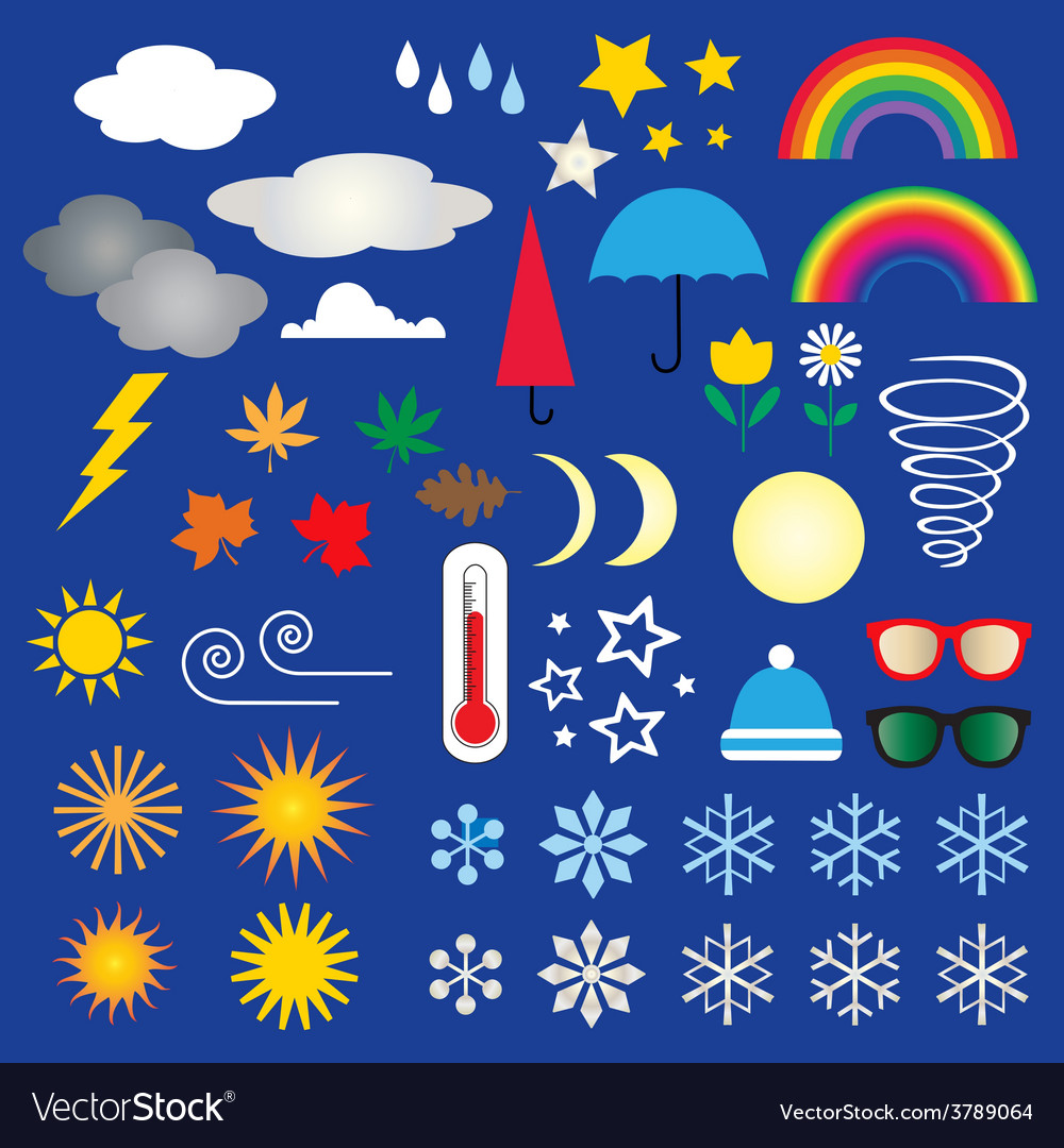 Weather icons clipart vector