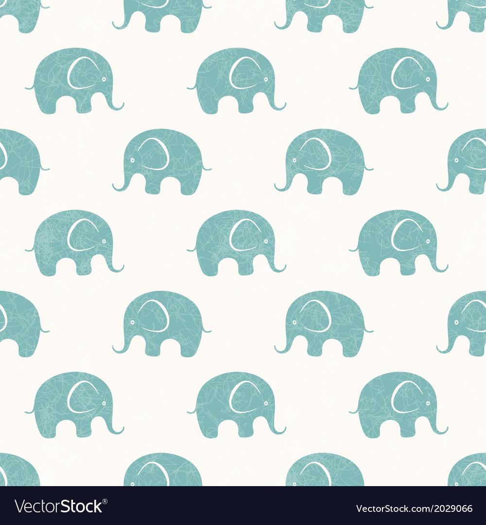Seamless print with cute little elephants vector