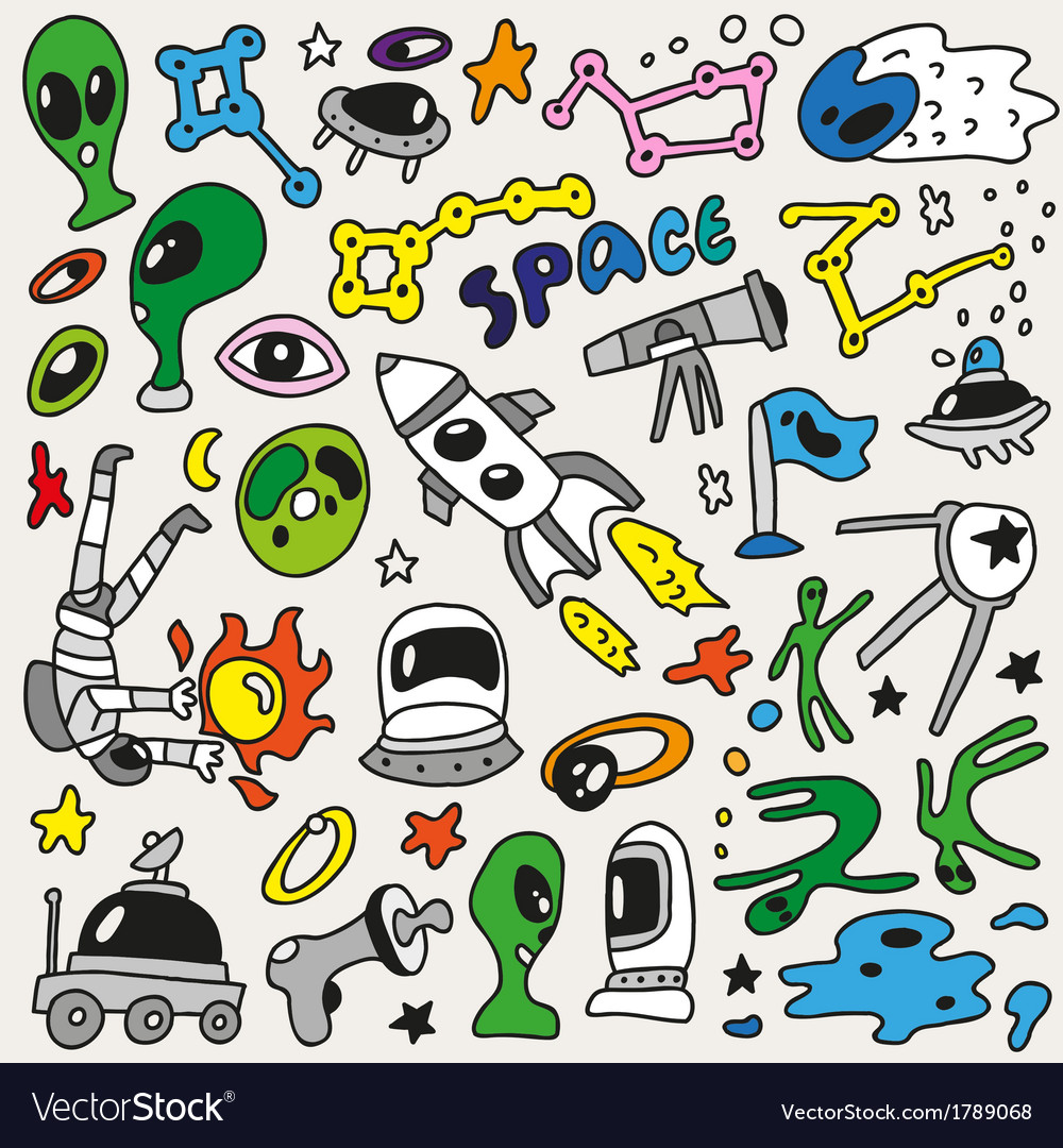 Space - doodles collection vector