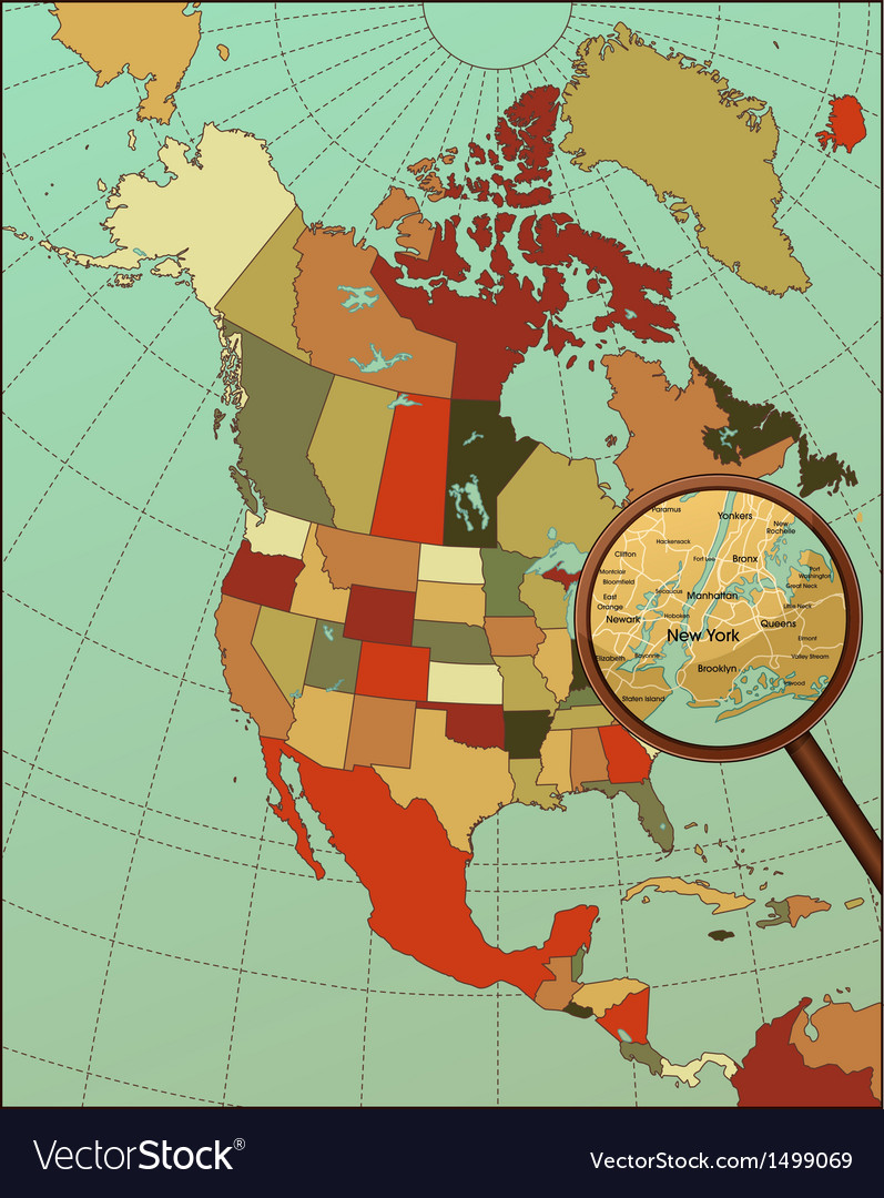 Colorful north america map with loop on new york vector