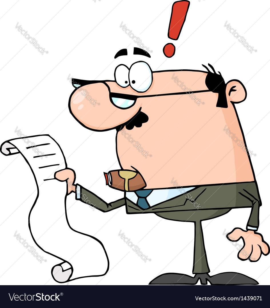 Businessman reviewing big bill vector