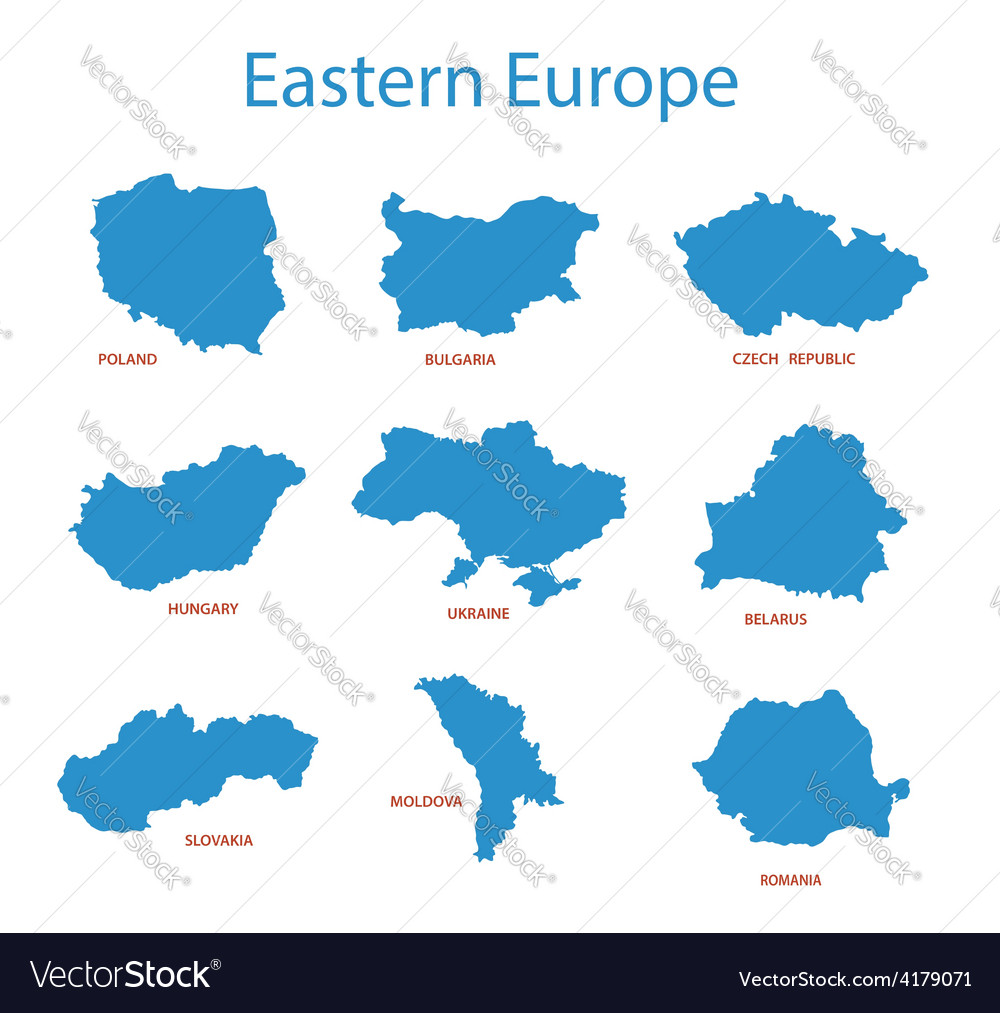 Eastern europe - maps of territories vector