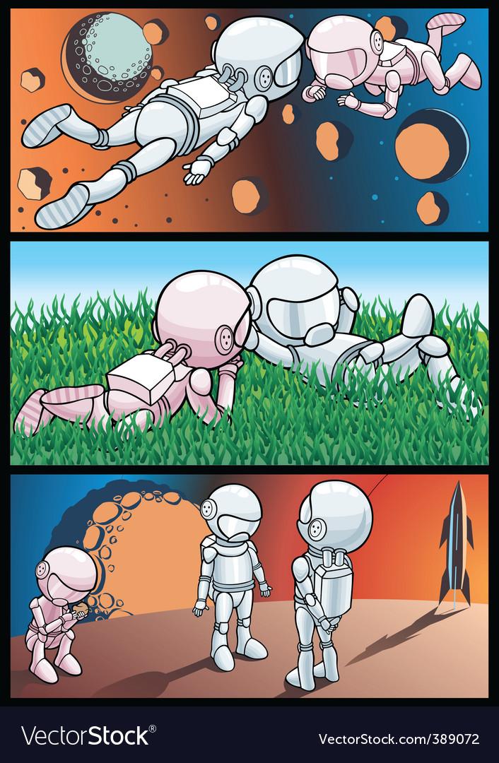 Cosmos and astronauts vector