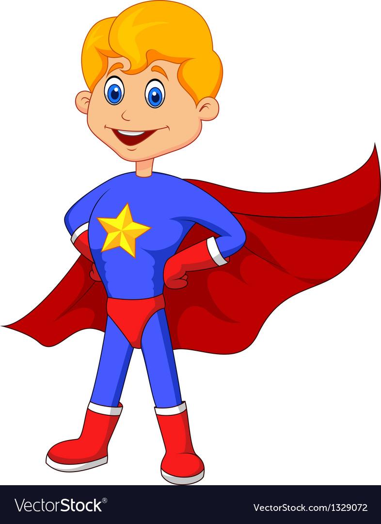 Superhero kid cartoon vector