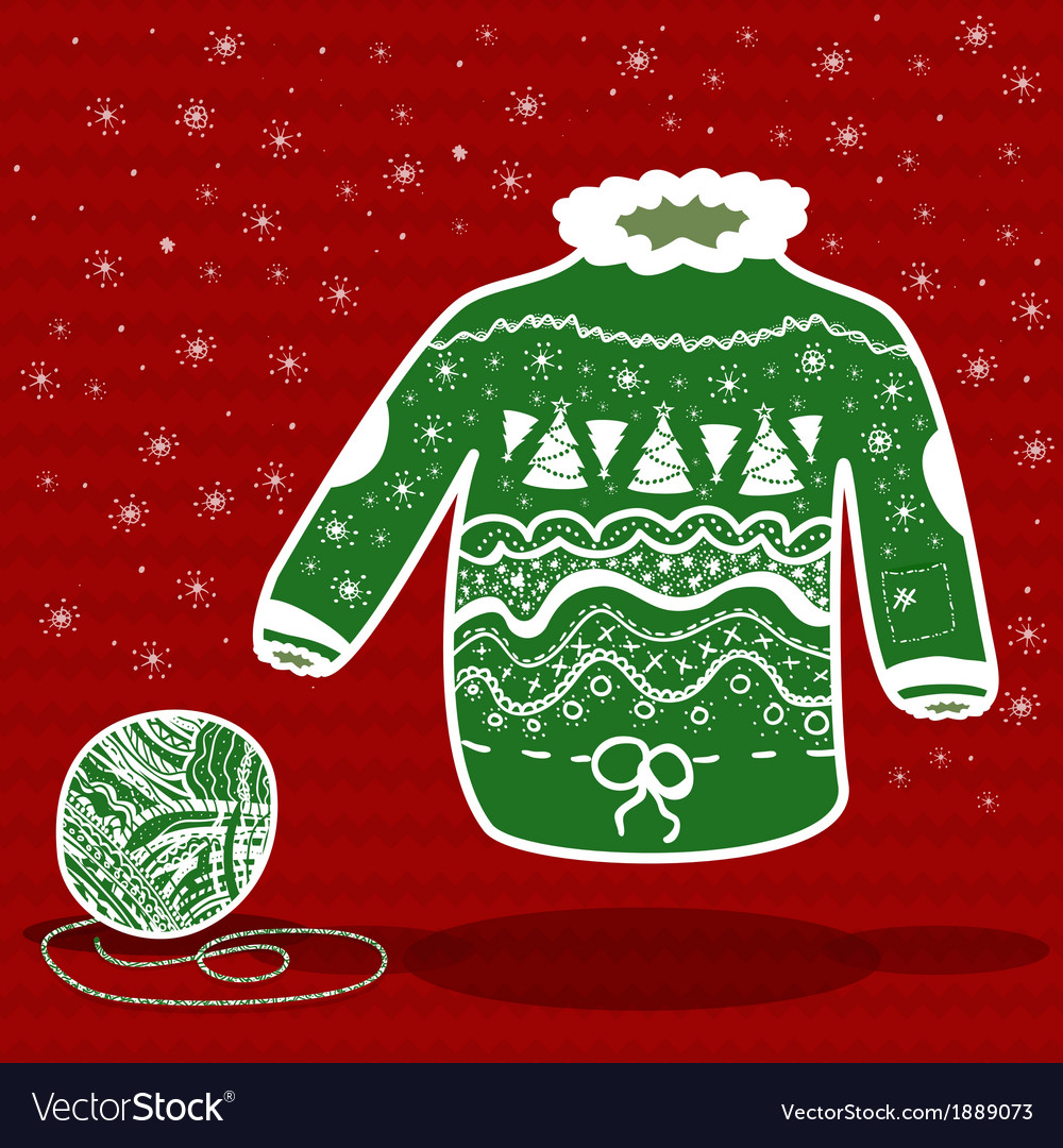 Green knitted christmas sweater and a ball of yarn vector