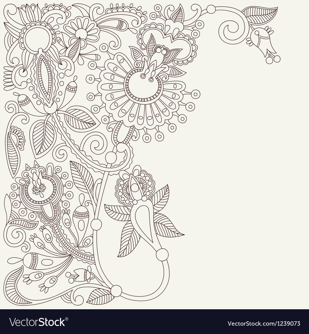 Original ukrainian traditional floral background vector