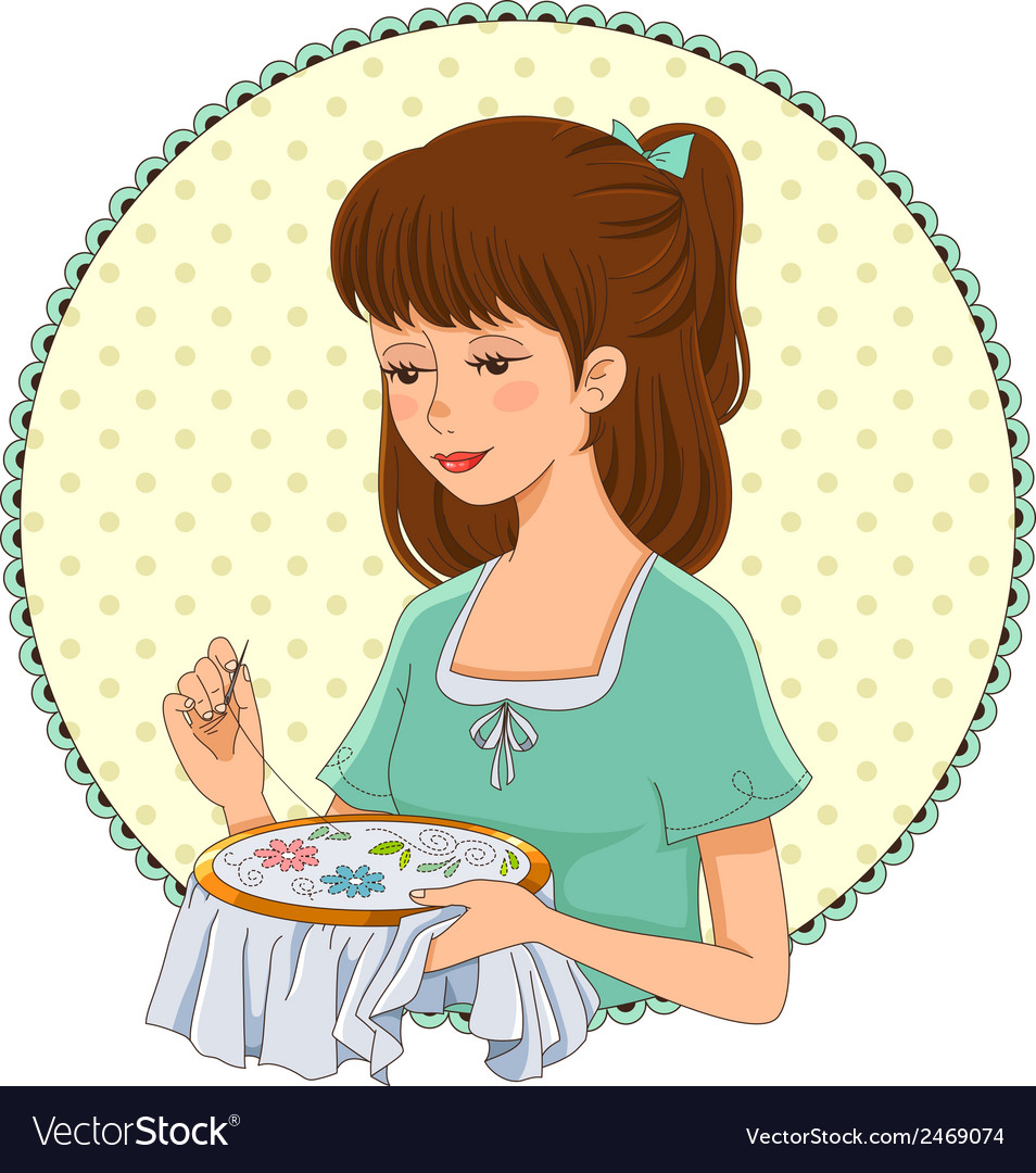 Embroidering girl vector