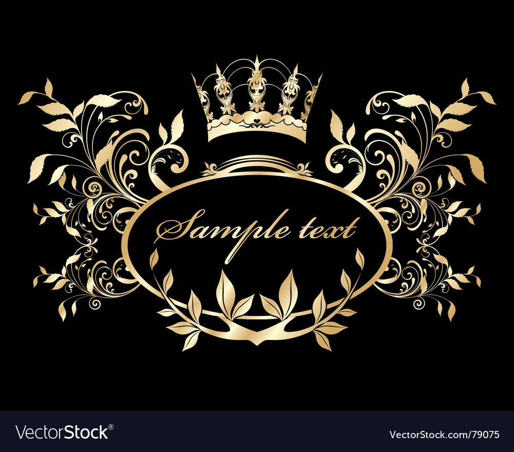 Gold nature frame vector