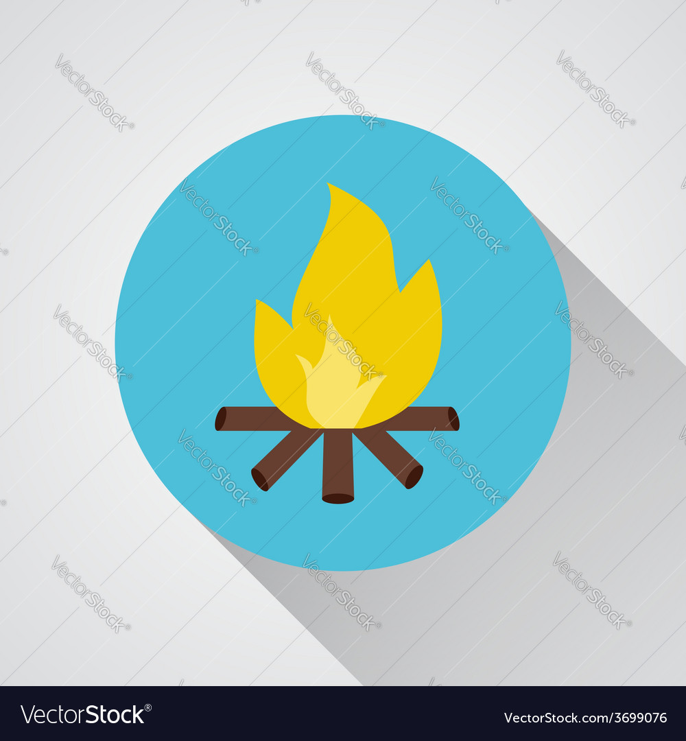 Bonfire - icon with shadow on a round blue vector