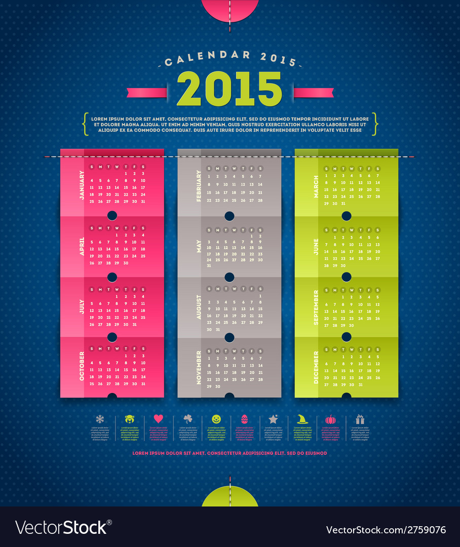 Calendar 2015 template design vector