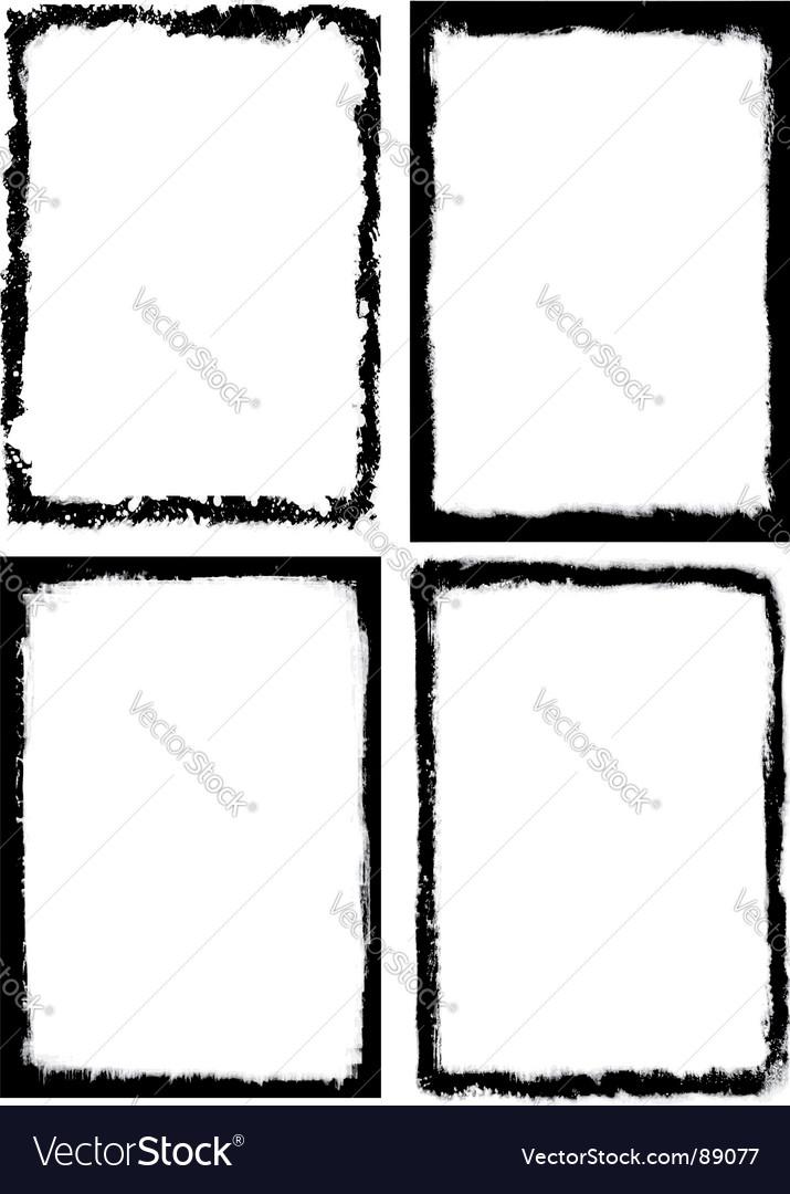Set of 4 grungy frames vector