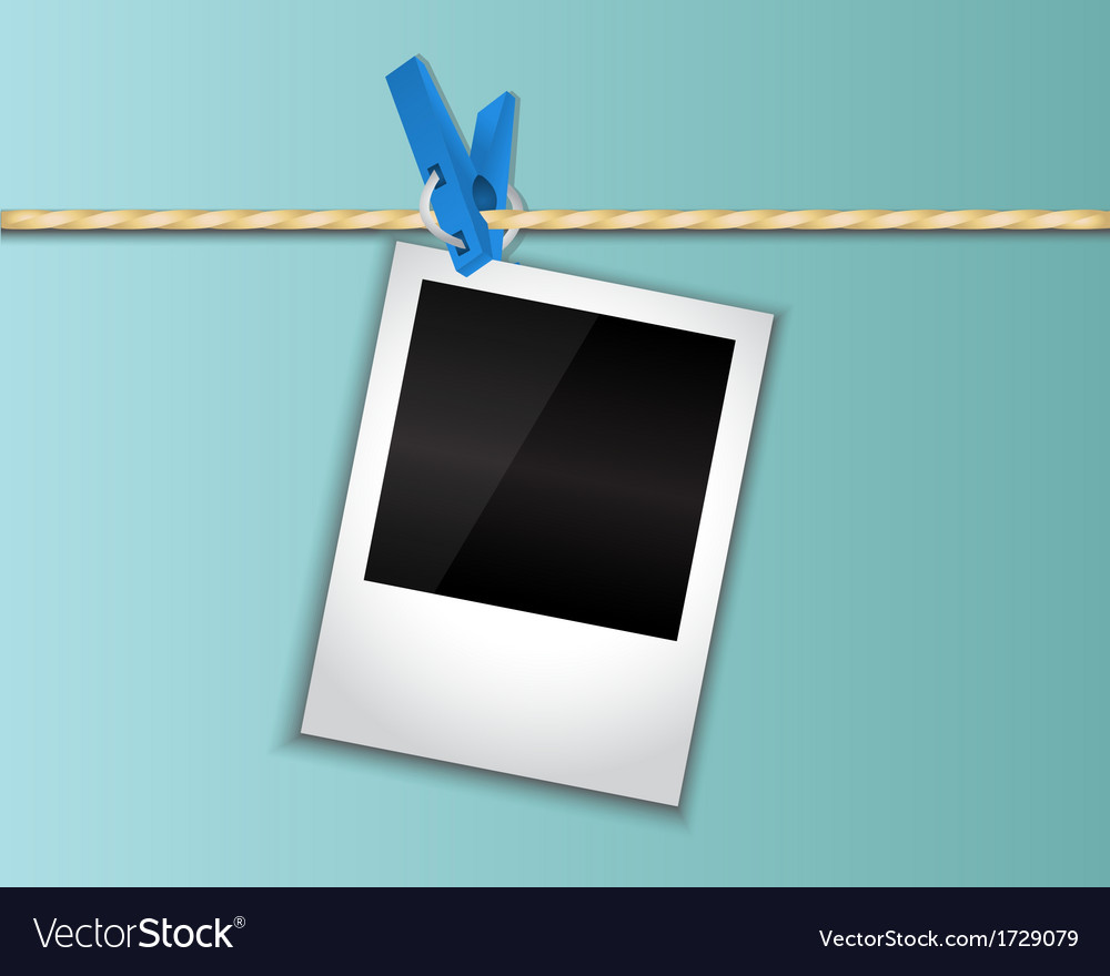 Photo hanging on a clothespin vector