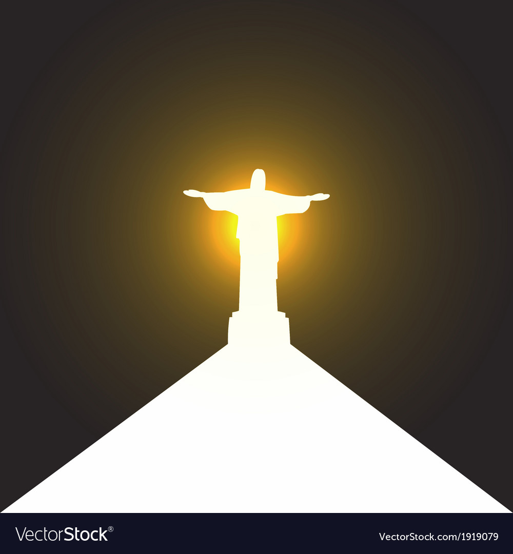 Silhouette of a statue of jesus christ in rio de vector