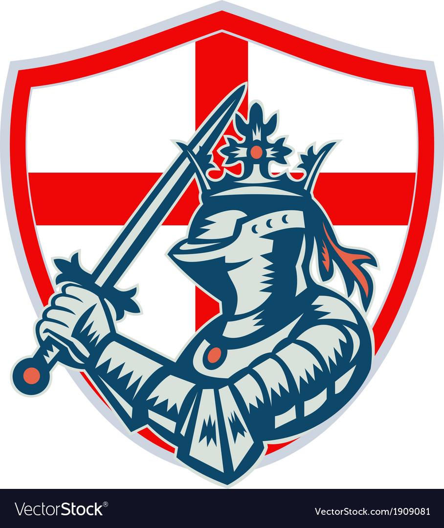 English knight full armor with sword retro vector
