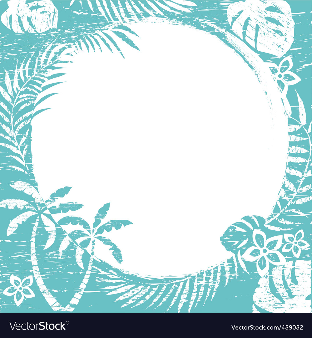 Grunge tropical border vector