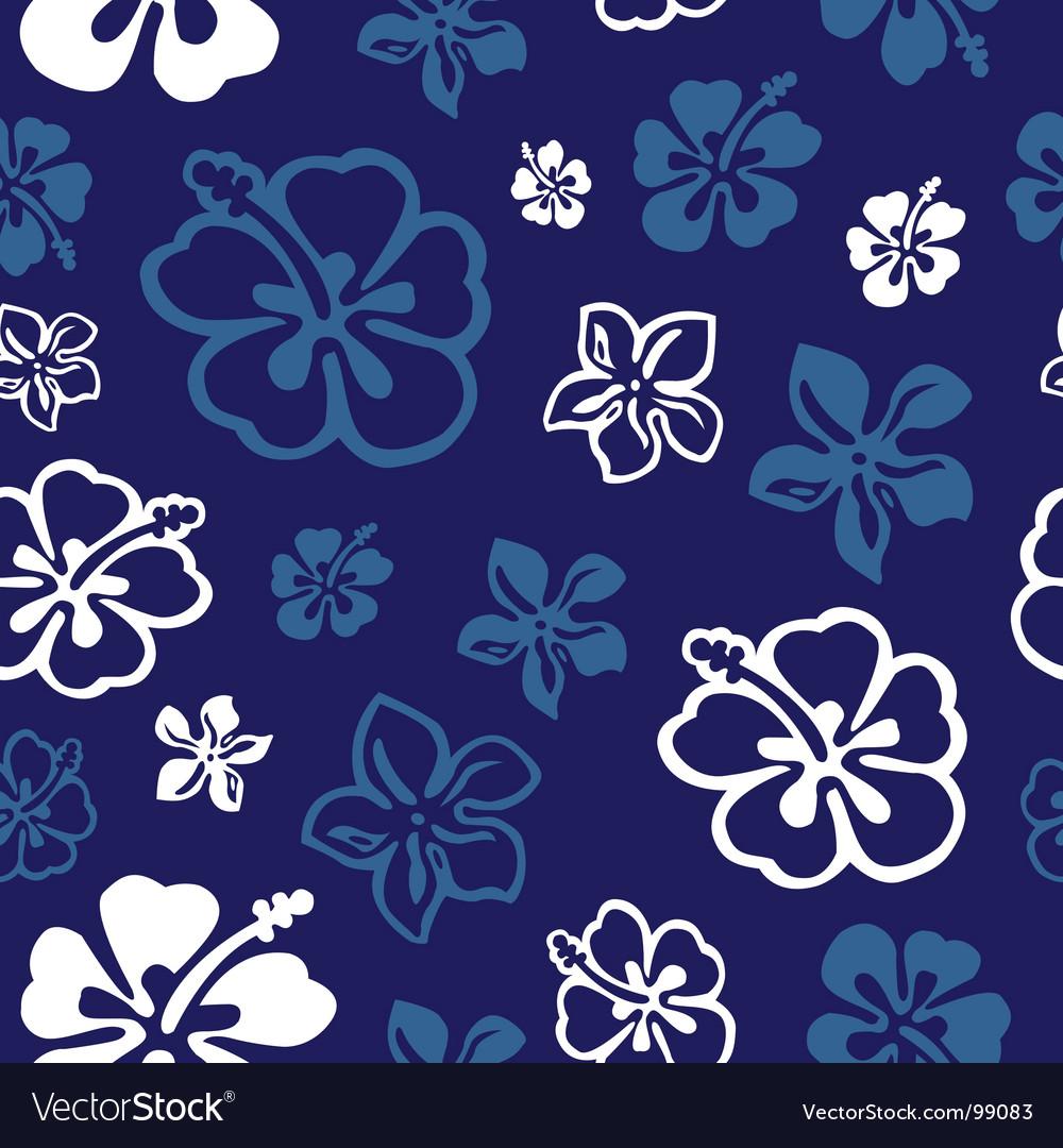 Seamless flower pattern over blue vector