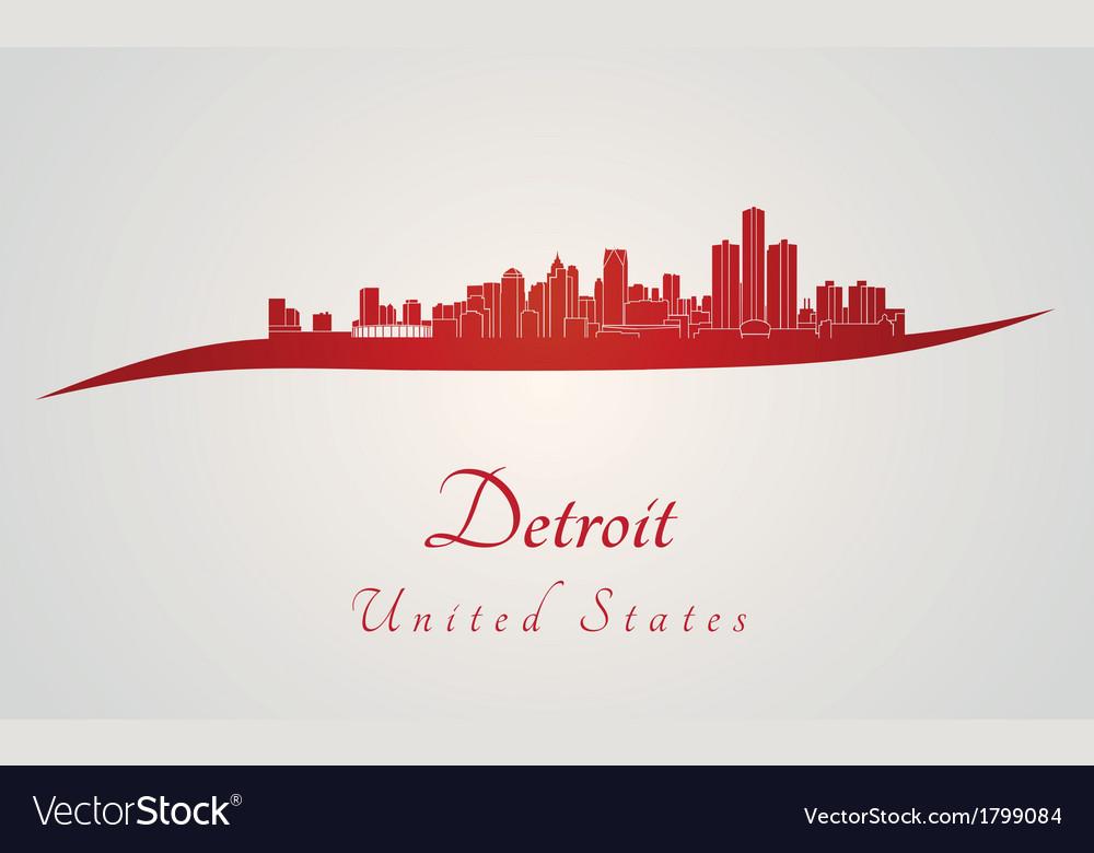 Detroit skyline in red vector
