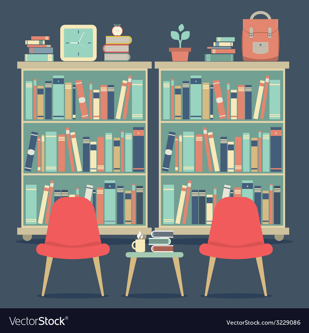 Modern design interior chairs and bookshelf vector