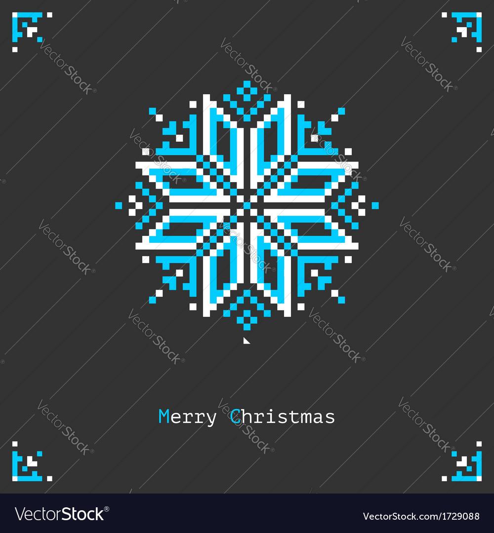 Pixel snowflake vector