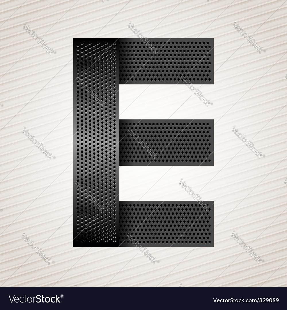 Letter metal ribbon - e vector