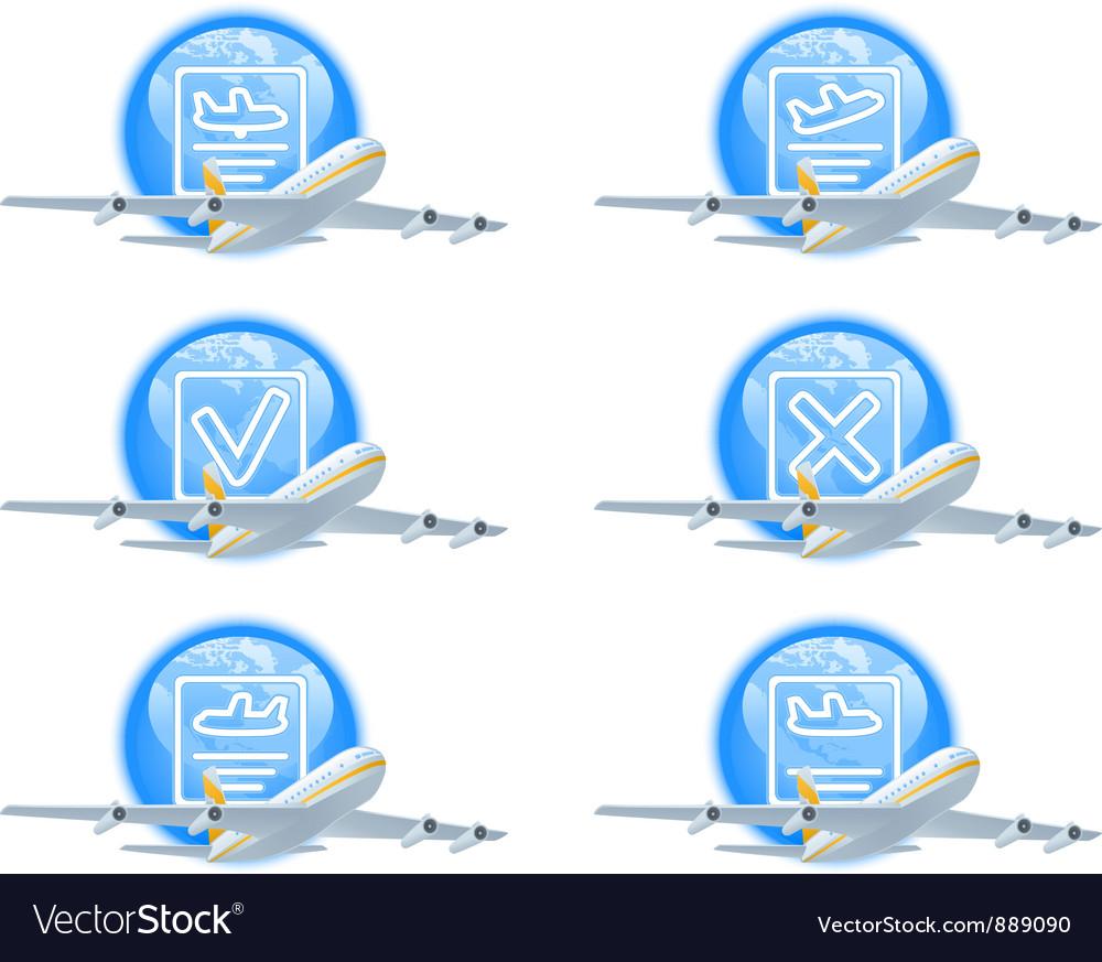 Flight status icon set vector
