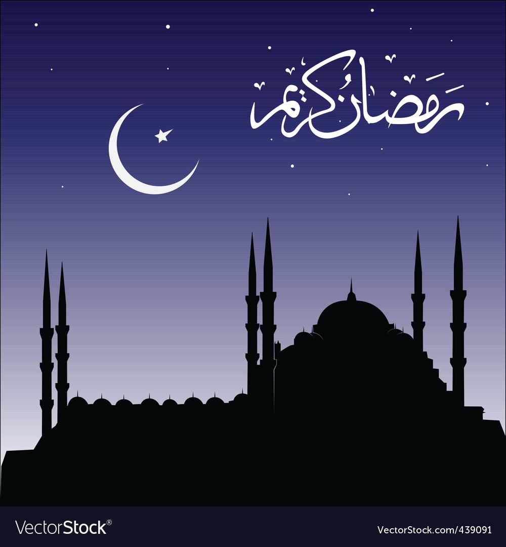 Silhouette of mosques vector