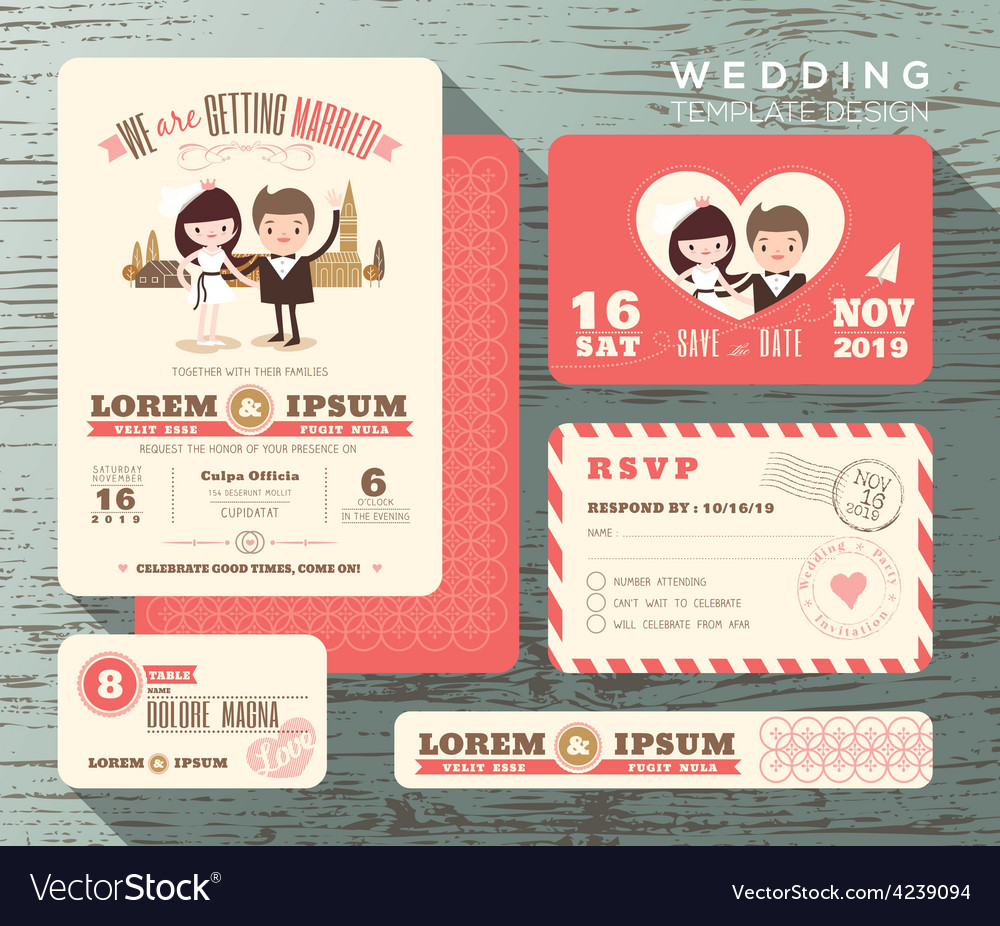 Cute groom and bride couple wedding invitation set vector